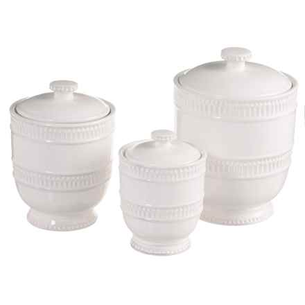 Jay Imports Bianca Ridge Canister Set - 3-Piece in White - Closeouts
