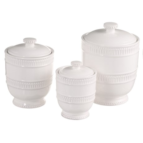 Jay Imports Bianca Ridge Canister Set - 3-Piece in White