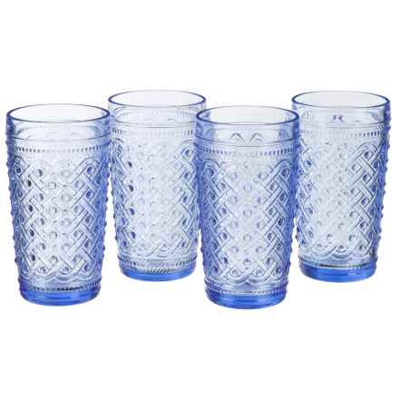 Jay Imports Bistro Highball Glasses - Set of 4 in Ikate Blue - Closeouts