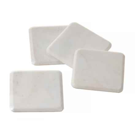 Jay Imports Marble Coasters - Set of 4 in White - Closeouts