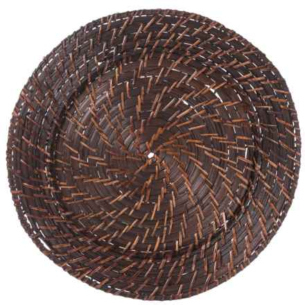 "Jay Imports Rattan Round Charger - 13"", Set of 4 in Brick Brown - Closeouts"