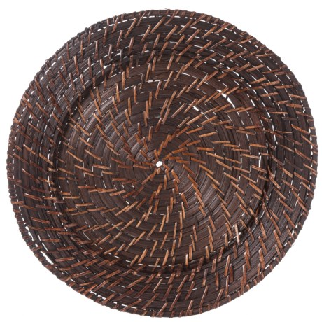 """Jay Imports Rattan Round Charger - 13"""", Set of 4 in Brick Brown"""