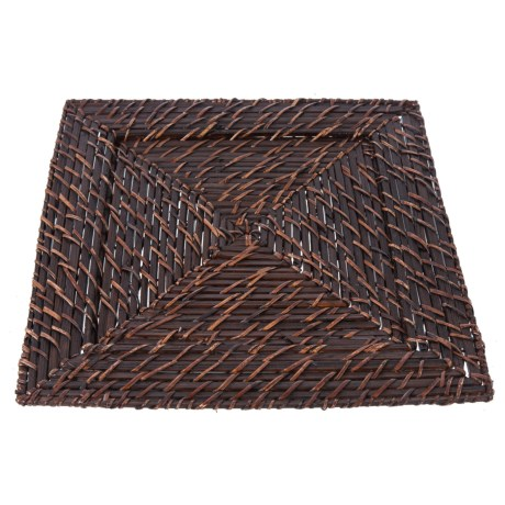 "Jay Imports Square Rattan Charger - 13"", Set of 4 in Brick Brown"