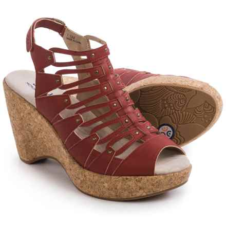 JBU by Jambu Lillian Wedge Sandals - Vegan Leather (For Women) in Red - Closeouts