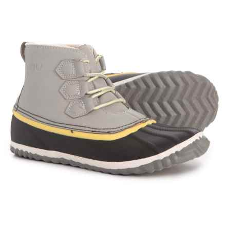 JBU Nala Ankle Duck Boots (For Women) in Light Grey/Yellow - Closeouts