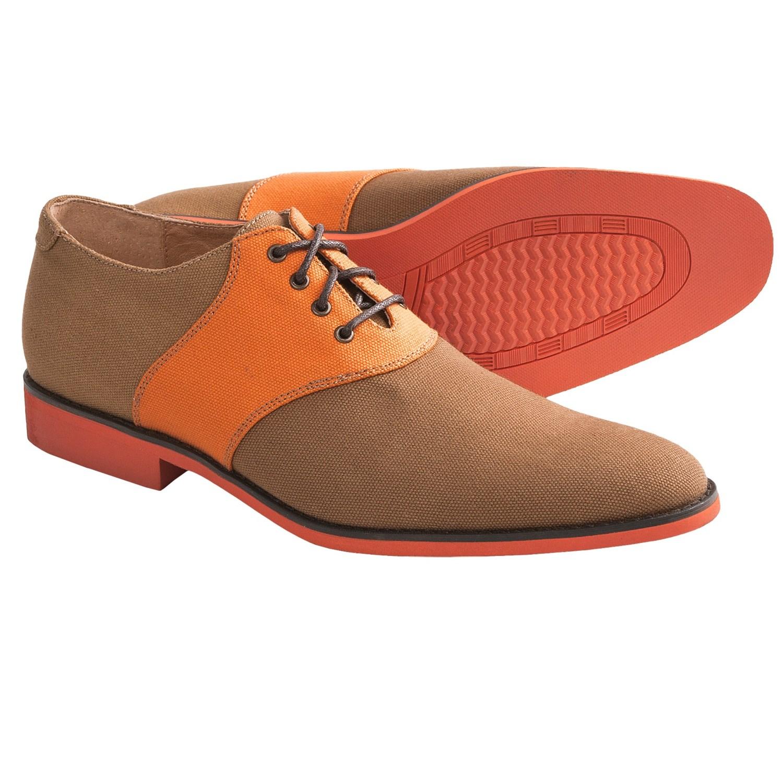 Fisk galvin saddle shoes canvas for men in safari orange