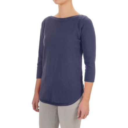Jeanne Pierre Boat Neck Sweater - 3/4 Sleeve (For Women) in Navy Sail - Closeouts