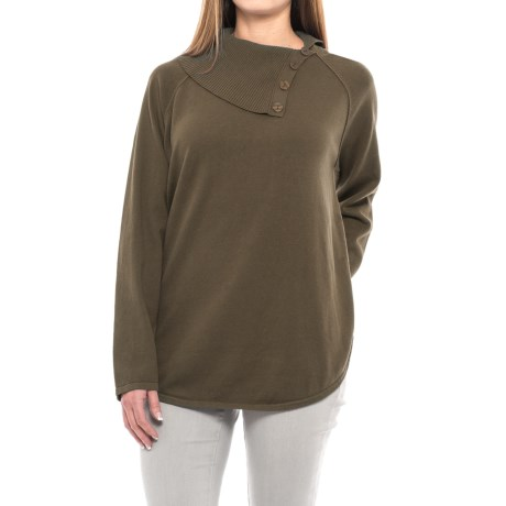 Jeanne Pierre Button Neck Sweater (For Women) in Camoflage