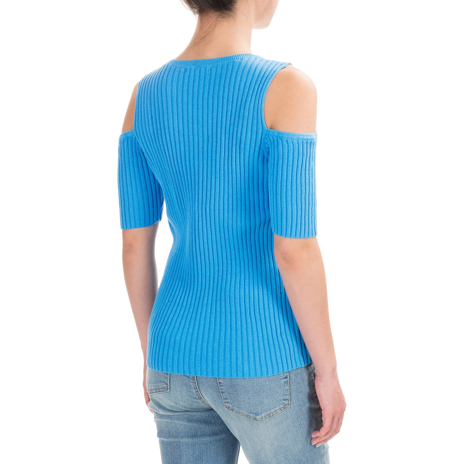 Jeanne Pierre Cold Shoulder Wide Ribbed Shirt For Women