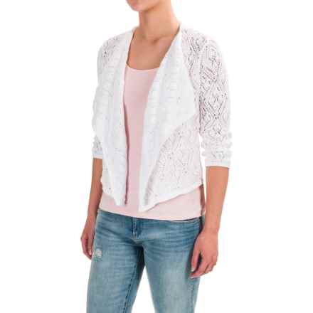Jeanne Pierre Draped Sweater Shrug - Cotton, Long Sleeve (For Women) in Bright White - Closeouts