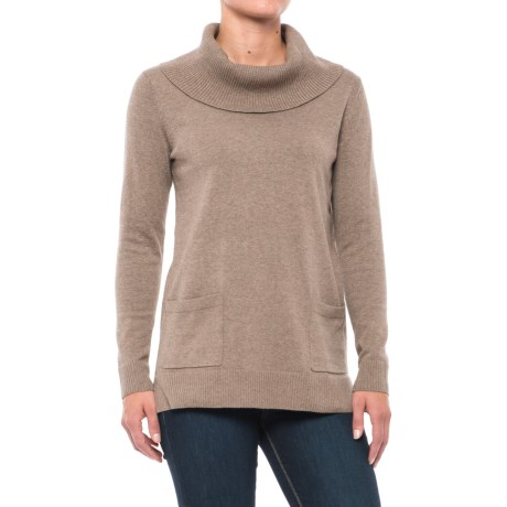 Jeanne Pierre Fine-Gauge Pocket Sweater - Cowl Neck (For Women) in 277 Taupe Heather