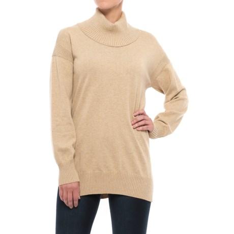 Jeanne Pierre Fine Gauge Sweater - Cowl Neck (For Women) in 264 Camel Heather