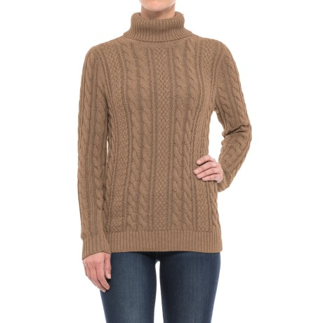 Jeanne Pierre Fisherman Cable-Knit Turtleneck Sweater (For Women)