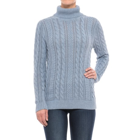 Jeanne Pierre Fisherman Cable-Knit Turtleneck Sweater (For Women) in Chambray Heather