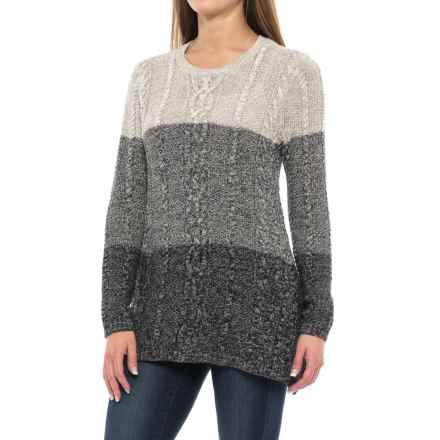 Jeanne Pierre Fisherman Cable Ombre Sweater (For Women) in Black - Closeouts