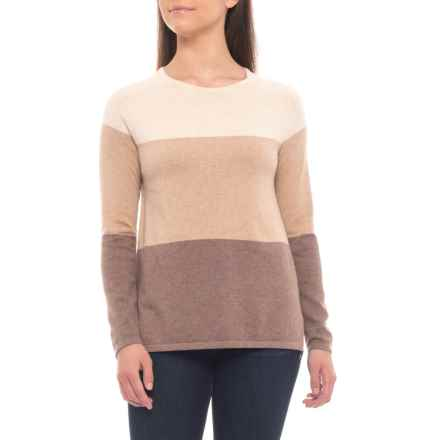 Jeanne Pierre High-Low Color-Block Sweater - Cotton (For Women) in Taupe Combo - Overstock
