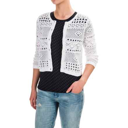 Jeanne Pierre Open-Weave Cardigan Sweater - Cotton (For Women) in Bright White - Closeouts