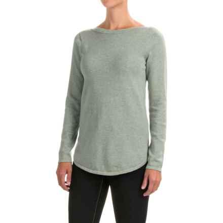 Jeanne Pierre Round Hem Cotton Sweater - Boat Neck (For Women) in Silver Grey Heather - Closeouts