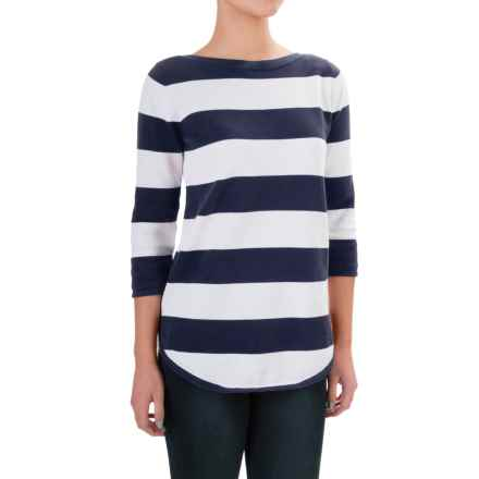 Jeanne Pierre Striped Boat Neck Sweater - 3/4 Sleeve (For Women) in Navy Sail / White - Closeouts