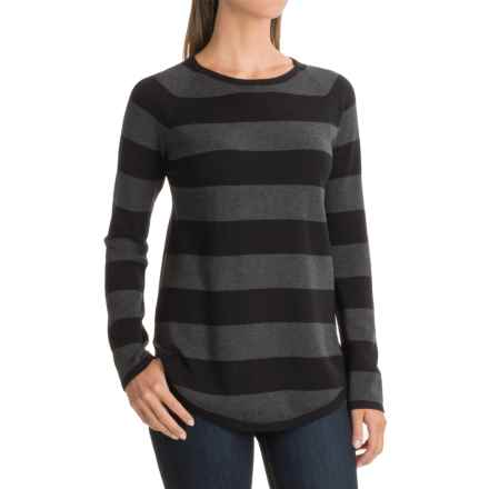 Jeanne Pierre Striped Cotton Sweater (For Women) in Black/Charcoal Heather - Closeouts