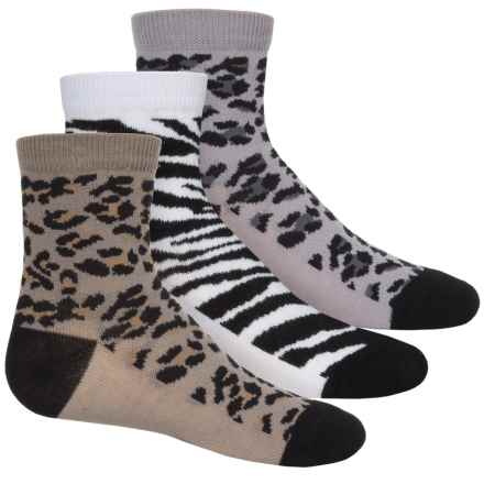 Jefferies Animal Socks - 3-Pack, Crew (For Toddlers and Little Girls) in Black - Closeouts