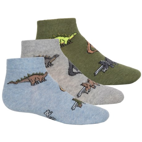 Jefferies Dino Socks - 3-Pack, Ankle (For Toddlers and Little Kids) in Heather