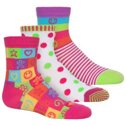 Jefferies Happiness Socks - 3-Pack, Crew (For Toddlers and Little Girls) in Citrus - Closeouts