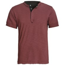 Jeremiah Buckley Henley Shirt - Slub Cotton Jersey, Short Sleeve (For Men) in Currant - Closeouts