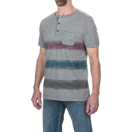 Jeremiah Foster Striped Henley Shirt - Short Sleeve (For Men) in Silver Heather - Closeouts