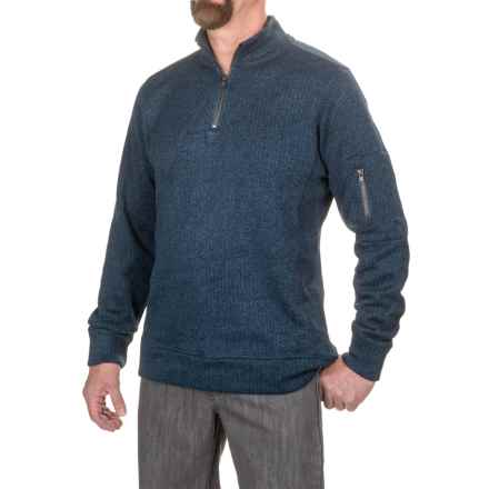 Jeremiah Lance Herringbone Fleece Shirt - Zip Neck, Long Sleeve (For Men) in Admiral Heather - Closeouts