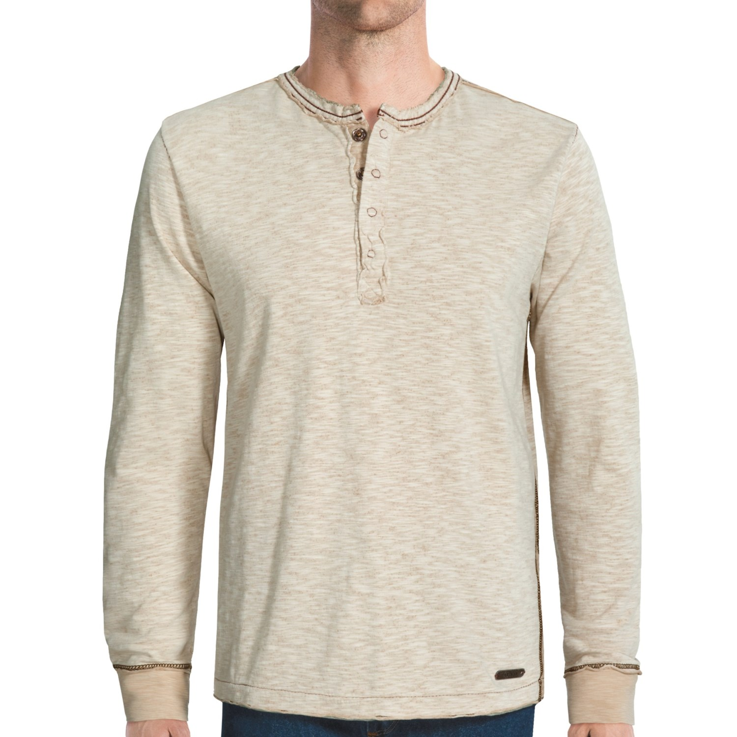 Jeremiah Mercer Henley Shirt Two Tone Cotton Jersey Slub