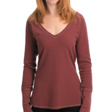 Jeremiah Stacie V-Neck Shirt - Cotton Slub Waffle, Long Sleeve (For Women) in Cabernet - Closeouts
