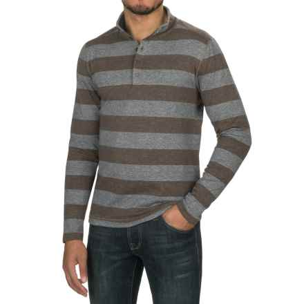 Jeremiah Victor Mock Neck Henley Shirt - Long Sleeve (For Men) in Limestone Heather - Closeouts