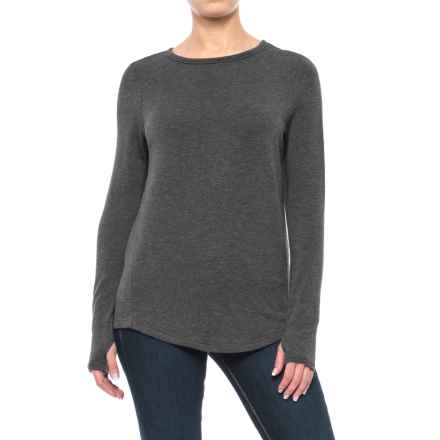 Jersey Crew Shirt - Long Sleeve (For Women) in Charcoal - 2nds