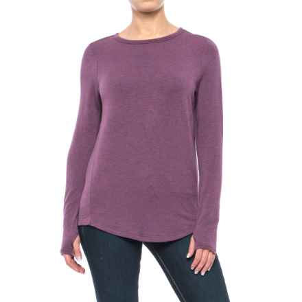 Jersey Crew Shirt - Long Sleeve (For Women) in Purple Heather - 2nds