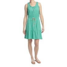 Jersey Knit Drawstring Waist Dress - Sleeveless (For Women) in Green - 2nds