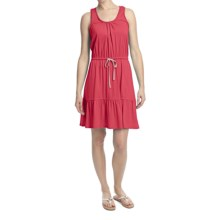 Jersey Knit Drawstring Waist Dress - Sleeveless (For Women) in Red - 2nds