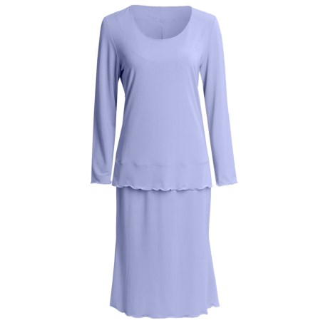 Jersey Knit Shirt and Skirt Set - Long Sleeve (For Women) in Blue