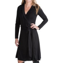 Jersey Knit Wrap Dress - Long Sleeve (For Women) in Black - 2nds