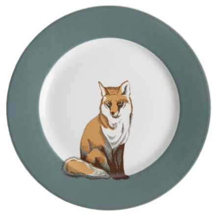 """Jersey Pottery Woodland Creature Dinner Plate - 11"""", Bone China in Fox - Closeouts"""