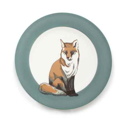 """Jersey Pottery Woodland Creature Salad Plate - 9"""", Bone China in Fox - Closeouts"""