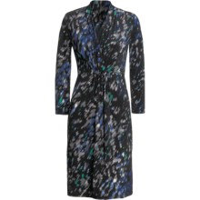 Jersey Print Dress - Shirred V-Neck, Buckle Front, ¾ Sleeve (For Women) in Black/Blue - 2nds