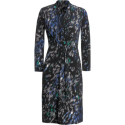 Jersey Print Dress - Shirred V-Neck, Buckle Front, ¾ Sleeve (For Women) in Black/Blue