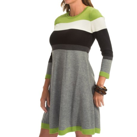 Jessica Howard Striped Dress 3/4 Sleeve (For Women)
