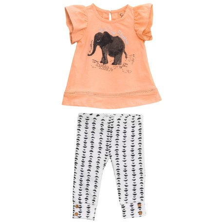 Jessica Simpson Graphic Shirt and Leggings Set - Short Sleeve (For Infant Girls) in Peach Nectar