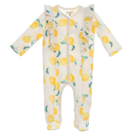 Jessica Simpson Ruffle Footed Coveralls - Long Sleeve (For Infant Girls) in Lemon Print