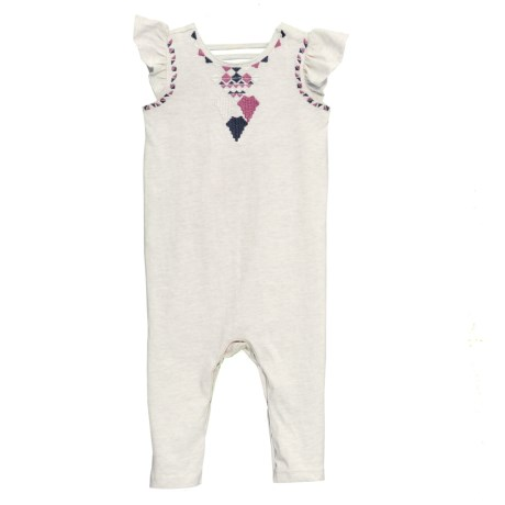 Jessica Simpson Ruffled Sleeve Coveralls - Sleeveless (For Infant Girls) in Heather Oatmeal