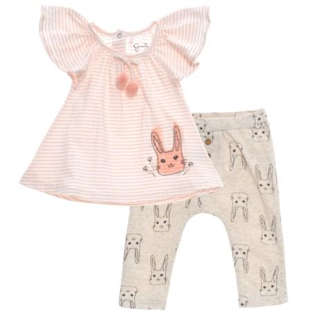Jessica Simpson Shirt and Pants Set - Short Sleeve (For Girls) in Blossom/Sea Salt Stripe
