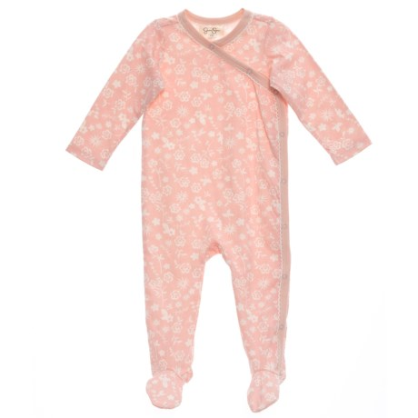 Jessica Simpson Strawberry Cream Print Footed Coveralls - Long Sleeve (For Girls) in Strawberry Cream Print