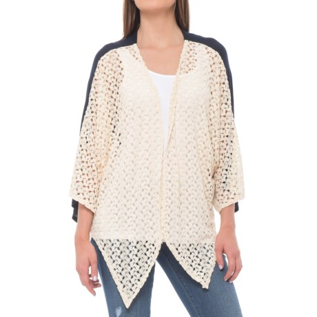 Jewel Eyelet Cardigan Sweater - Open Front, Short Sleeve (For Women) in Navy